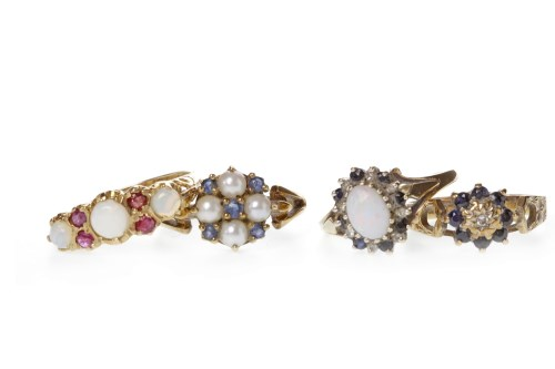 Lot 518-FOUR MID TWENTIETH CENTURY NINE CARAT GOLD GEM...
