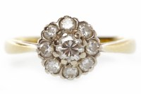 Lot 533-EIGHTEEN CARAT GOLD DIAMOND CLUSTER RING the...