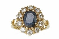 Lot 538-EIGHTEEN CARAT GOLD SAPPHIRE AND DIAMOND CLUSTER...