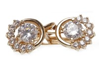 Lot 553-PAIR OF ROSE GOLD GEM SET EARRINGS each set with...