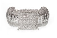 Lot 614 - NINE CARAT WHITE GOLD DIAMOND DRESS RING with...