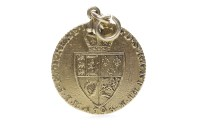 Lot 632 - GOLD GUINEA DATED 1793 soldered with a pendant...