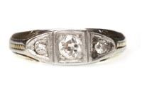 Lot 639 - NINE CARAT GOLD DIAMOND THREE STONE RING the...