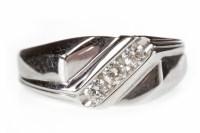 Lot 648 - GENTLEMAN'S NINE CARAT WHITE GOLD DIAMOND RING...