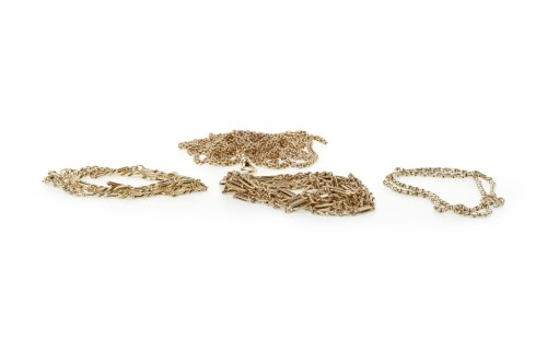 Lot 672-FOUR GOLD CHAINS comprising a nine carat gold...