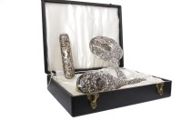 Lot 816-CONTEMPORARY SILVER BACKED DRESSING TABLE SET...