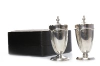 Lot 825-PAIR OF GEORGE V SILVER PEPPER POTS maker...