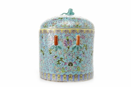 Lot 1004-MID 20TH CENTURY CHINESE POLYCHROME ENAMEL LIDDED ...