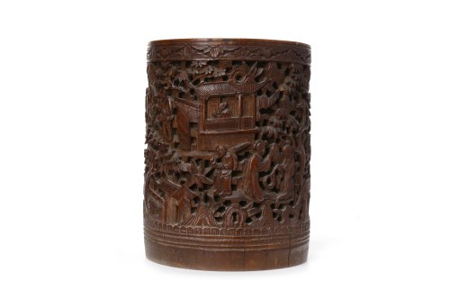 Lot 1018-20TH CENTURY CHINESE BAMBOO BRUSH POT carved...
