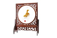 Lot 1031-THREE MID 20TH CENTURY CHINESE TABLE SCREENS the...