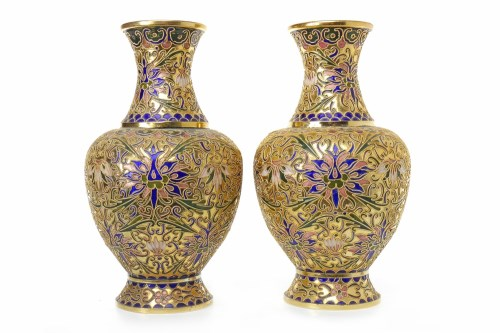 Lot 1032-PAIR OF CHINESE CLOISONNE VASES along with a...