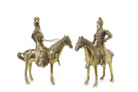 Lot 1034-TWO 20TH CENTURY CHINESE BRONZE WARRIORS ON...
