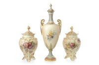 Lot 1202-PAIR OF EARLY 20TH CENTURY ROYAL WORCESTER BLUSH...