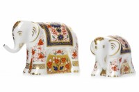 Lot 1221 - TWO ROYAL CROWN DERBY OLD IMARI LUCKY ELEPHANT...