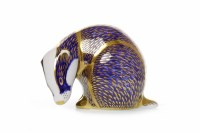 Lot 1222-ROYAL CROWN DERBY BADGER PAPERWEIGHT stamped...