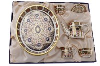Lot 1227-ROYAL CROWN DERBY 'IMARI' PATTERN MINIATURE TEA...