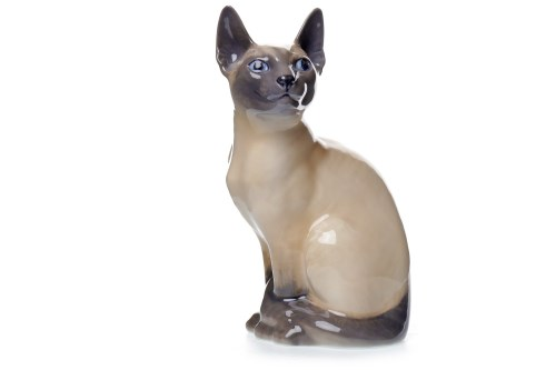 Lot 1230-ROYAL COPENHAGEN FIGURE OF A SIAMESE CAT circa...