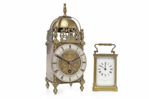 Lot 1403-EARLY 20TH CENTURY LANTERN CLOCK the one train,...