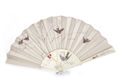 Lot 1653-EARLY 20TH CENTURY HANDPAINTED IVORINE AND SATIN...