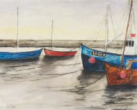 Lot 6-* STEPHANIE DEES RSW, BOATS AT SUNSET mixed media ...