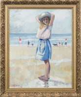 Lot 10-* TOM DURKIN, GIRL ON THE BEACH oil on board,...
