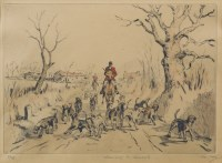 Lot 13-* TOM CARR, LEAVING THE KENNELS etching, signed,...