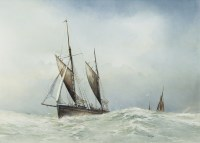 Lot 53-JOHN R TODD, BOATS IN CHOPPY SEAS oil on board,...