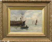 Lot 230-JOSEPH MILNE (SCOTTISH 1861 - 1911),  ROWING TO THE HARBOUR