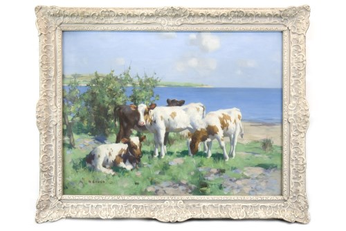 Lot 262-DAVID GAULD RSA (SCOTTISH 1865 - 1936), CALVES IN ...