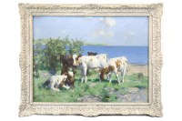 Lot 262-DAVID GAULD RSA (SCOTTISH 1865 - 1936), CALVES IN ...