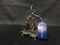Lot 1-UNUSUAL SILVER PLATE TOAST RACK OF THISTLE DESIGN
