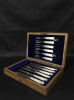 Lot 3-LOT OF SILVER PLATED CUTLERY including cased set...