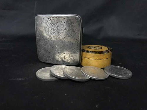 Lot 12-SILVER CIGARETTE CASE along with Victorian silver ...
