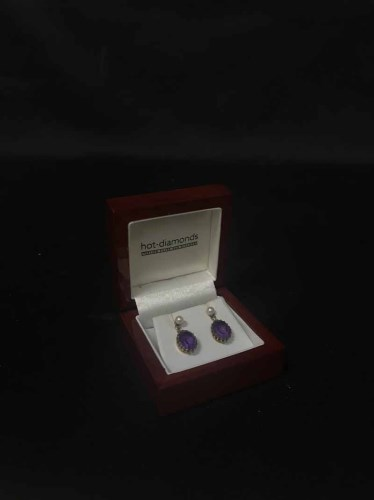 Lot 20-PAIR OF AMETHYST AND PEARL EARRINGS
