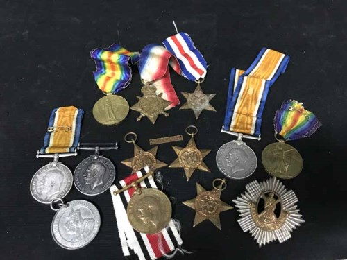 Lot 21-LOT OF WWI AND WWII SERVICE MEDALS (11) along...