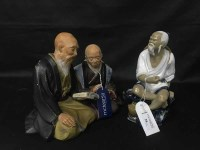 Lot 28-CERAMIC FIGURE OF SEATED JAPANESE MAN along with...