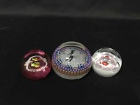 Lot 42-THREE GLASS PAPERWEIGHTS including Caithness and...