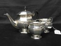 Lot 46-THREE PIECE SILVER PLATED TEA SERVICE of Art Deco ...