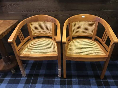Lot 63 - PAIR OF CONTEMPORARY CANE TUB ARMCHAIRS by...