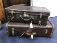 Lot 64 - LOT OF THREE LEATHER SUITCASES