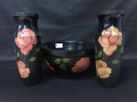 Lot 86 - PAIR OF LACQUERED VASES of tapering form with...