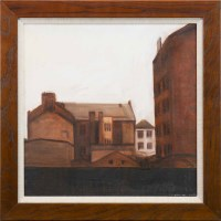 Lot 2-* GERARD BURNS, GLASGOW TENEMENTS oil on canvas,...