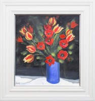 Lot 48-ROWENA LAING, A RIOT OF TULIPS oil on panel,...