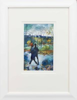 Lot 50-BRYAN EVANS, RED HAT IN THE PARK watercolour on...