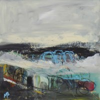 Lot 164 - MAY BYRNE, WINTER CREELS mixed media on board,...