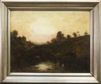 Lot 269-WILLIAM GLOVER (SCOTTISH 1835 - 1916), SUNSET oil ...