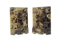 Lot 1069-PAIR OF 20TH CENTURY CHINESE SOAPSTONE CARVINGS...