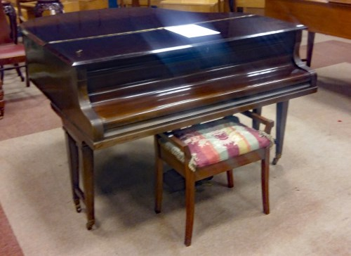 Lot 1418-MAHOGANY BABY GRAND PIANO BY REICHMAN serial...