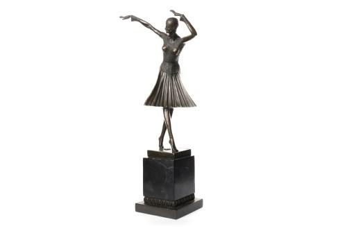 Lot 1614-BRONZE FIGURE OF A DANCER AFTER D.H. CHIPARUS...