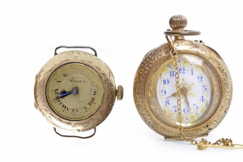 Lot 862-LADY'S CONTINENTAL ENAMELLED FOB WATCH the round...